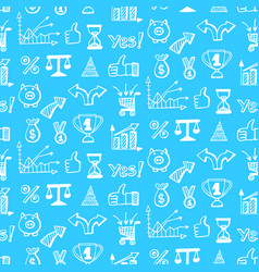 seamless pattern with business doodle icons vector image