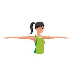 sport girl exercise open arms design vector image