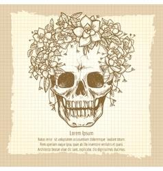 Vintage skull sketch in roses wreath vector image