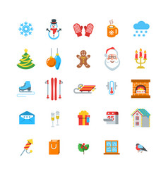 winter season and christmas flat icons vector image