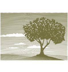 Woodcut tree landscape vector