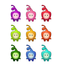 cute cartoon colorful alien characters set vector image vector image