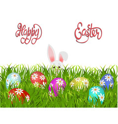 happy easter easter painted eggs with a pattern vector image