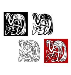 Heron bird in celtic style vector image vector image
