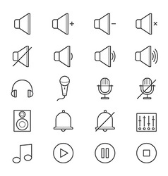 Music and Media Icons Line vector image vector image
