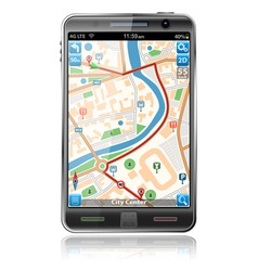 smart phones with gps navigation vector image vector image