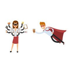superhero business man woman vector image vector image