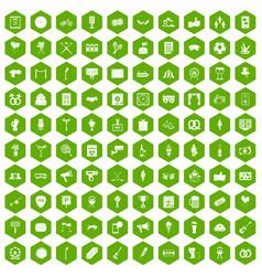 100 events icons hexagon green vector