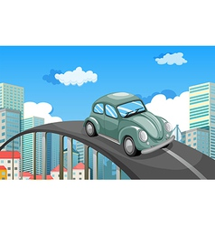 A car travelling at the road in the city vector