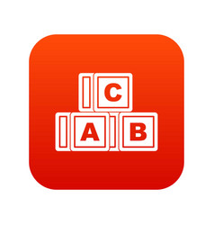 abc cubes icon digital red vector image