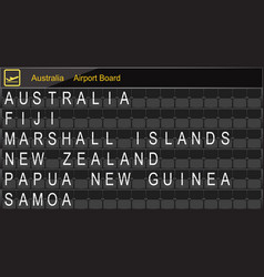 Australia country airport board information vector