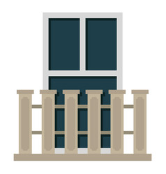 balcony balustrade with window i icon isolated vector image