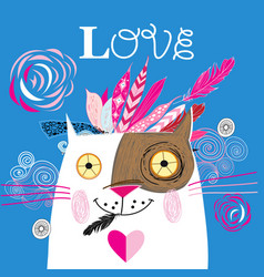 Beautiful love cat with a red heart vector