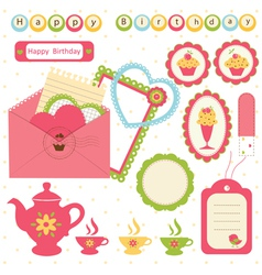 Birthday scrapbook set 2 vector image