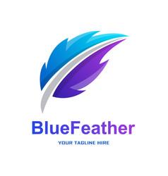 Blue feather gradient logo vector