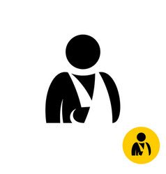 broken arm icon injured man silhouette hospital vector image