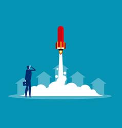 Businessman launches rocket concept business vector
