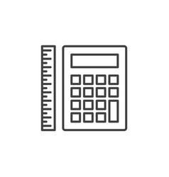 calculator with ruler outline icon or sign vector image