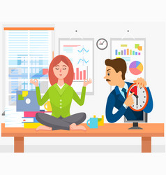calm woman meditating at workplace boss urges vector image