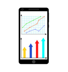 chart and graphic on smartphone screen vector image
