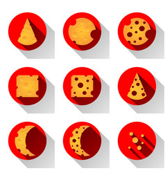 Cheese flat icon with shadow vector