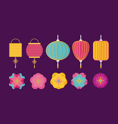 Chinese lanterns and flowers vector
