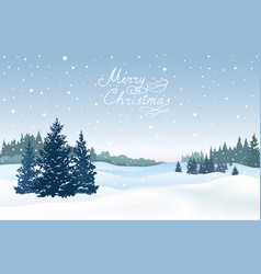 christmas background snow winter landscape with vector image