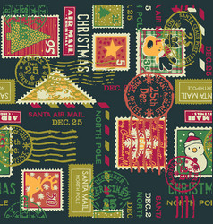 christmas santa claus postage stamps elements vector image