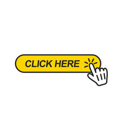Click here button with hand pointer clicking vector