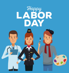 Color card of happy labor day with half body vector