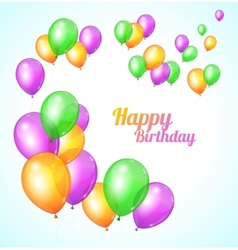 Color happy birthday card balloons fly vector