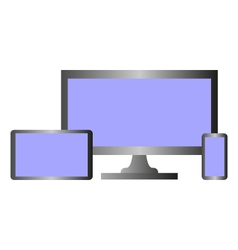 computer and phone with tablet vector image