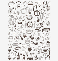 Cookery food - doodles set vector