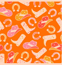 cowgirl horse ranch seamless pattern vector image