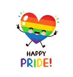 Cute happy smiling lgbt heart vector