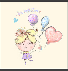Cute little blond girl flying with balloons vector