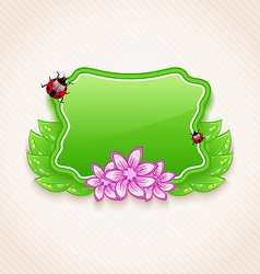 Cute spring card with flower leaves lady-beetle vector image
