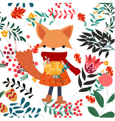 cute sweet pink and floral flower and fox girl vector image