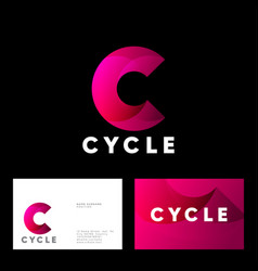 Cycle logo c helix letter web icon red-pink vortex vector