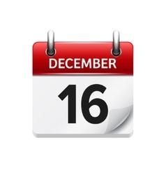 December 16 flat daily calendar icon vector