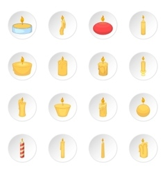 Different candle icons set vector