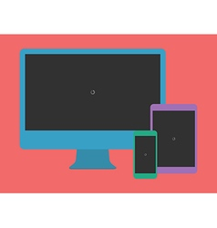 Digital Minimalist Flat Design Template Monitor vector