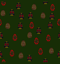Doodle easter eggs chaotic seamless pattern vector
