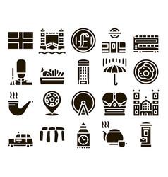 England united kingdom glyph set vector