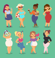 Fatty cartoon woman girl character people vector