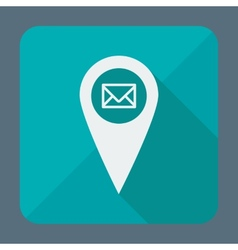 Flat style geo tag icon with long shadow vector