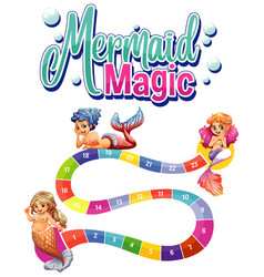 Game template with three mermaids and numbers vector