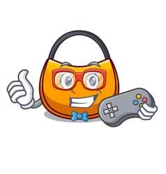 Gamer hobo bag outline on image cartoon vector