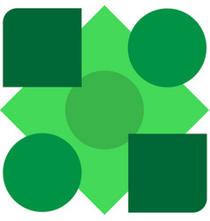 geometric shapes of green shades on white vector image