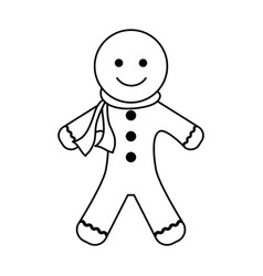 Gingerbread man cookie christmas related icon vector